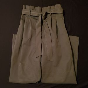H&M Olive Green Paperbag Straight Leg Ankle Pants